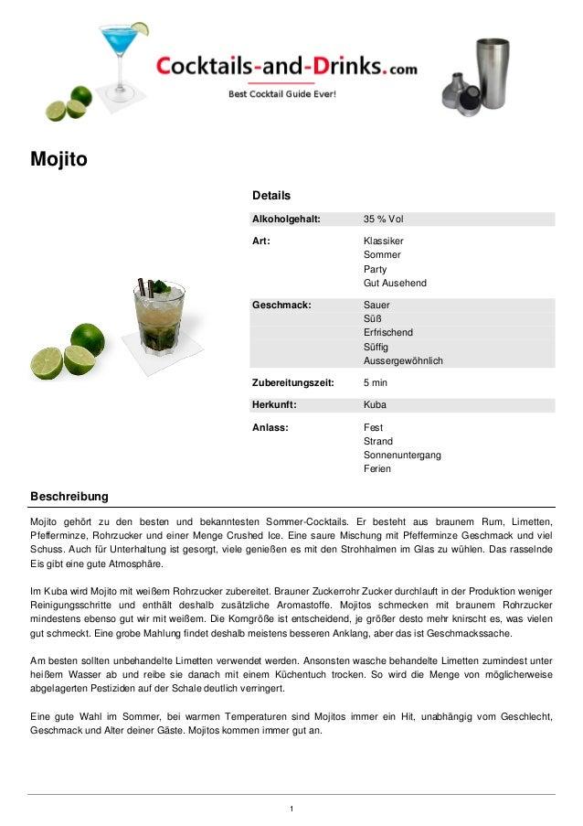 Mojito Details Alkoholgehalt: 35 % Vol Art: Klassiker Sommer Party Gut Ausehend Geschmack: Sauer Süß Erfrischend Süffig Au...