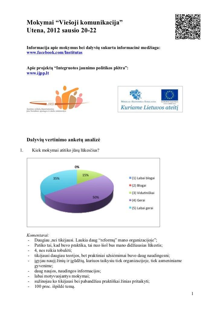 """Mokymai """"Viešoji komunikacija""""     Utena, 2012 sausio 20-22     Informacija apie mokymus bei dalyvių sukurta informacinė m..."""
