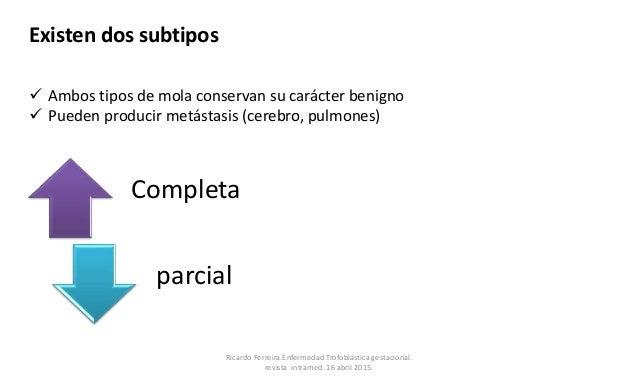 Existen dos subtipos Completa parcial  Ambos tipos de mola conservan su carácter benigno  Pueden producir metástasis (ce...