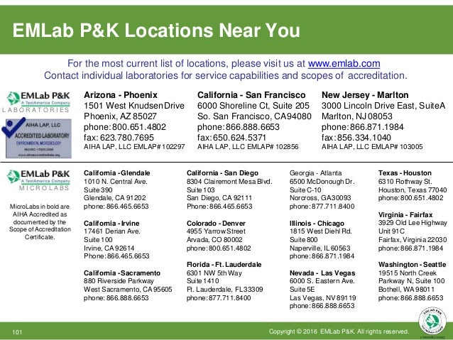 TestAmerica Locations For the most current list of locations, please visit us at www.emlab.com For your convenience, you c...