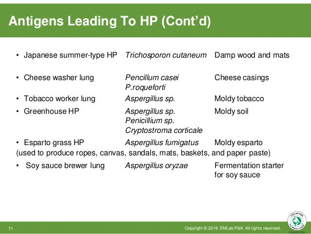 Antigens Leading To HP (Cont'd) Copyright © 2016 EMLab P&K. All rights reserved.71 • Japanese summer-type HP • Cheese wash...