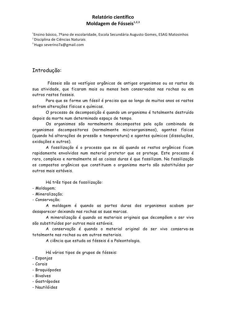 Relatório científico                              Moldagem de Fósseis1,2,31 Ensino básico, 7ºano de escolaridade, Escola S...