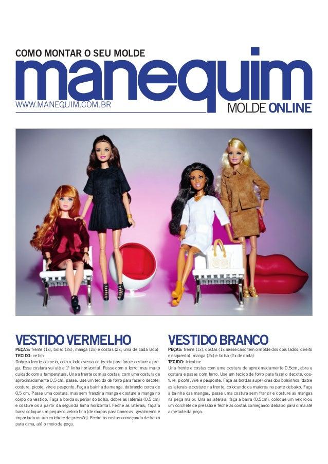 MOLDEONLINEwww.manequim.com.br COMO MONTAR O SEU MOLDE VESTIDOVERMELHOPeças: frente (1x), bolso (2x), manga (2x) e costas ...