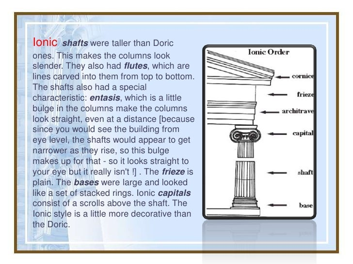 Ionic   shafts were taller than Doricones. This makes the columns lookslender. They also had flutes, which arelines carved...