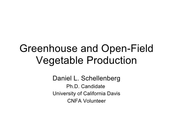 Greenhouse and Open-Field Vegetable Production Daniel L. Schellenberg Ph.D. Candidate  University of California Davis CNFA...