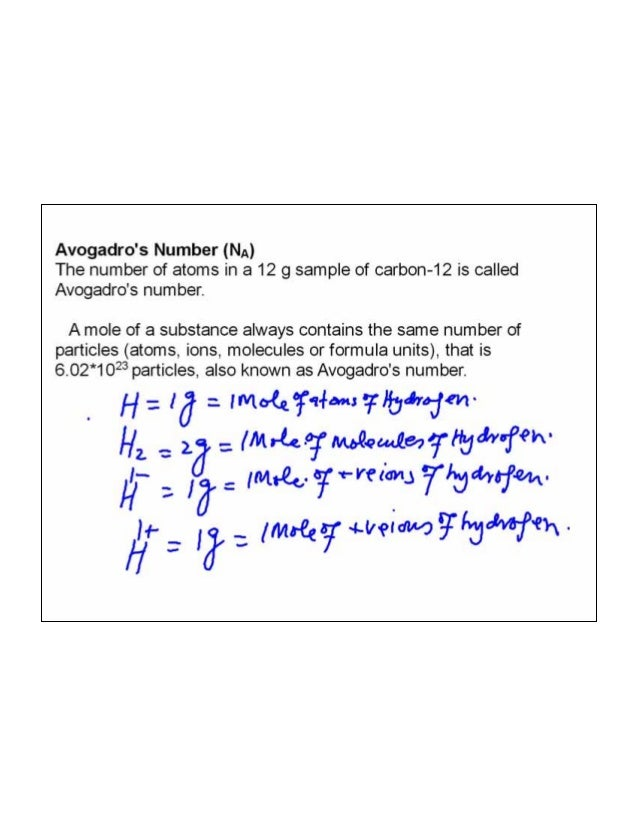Mole, avogadro's number and calculations based on balanced chemical e…