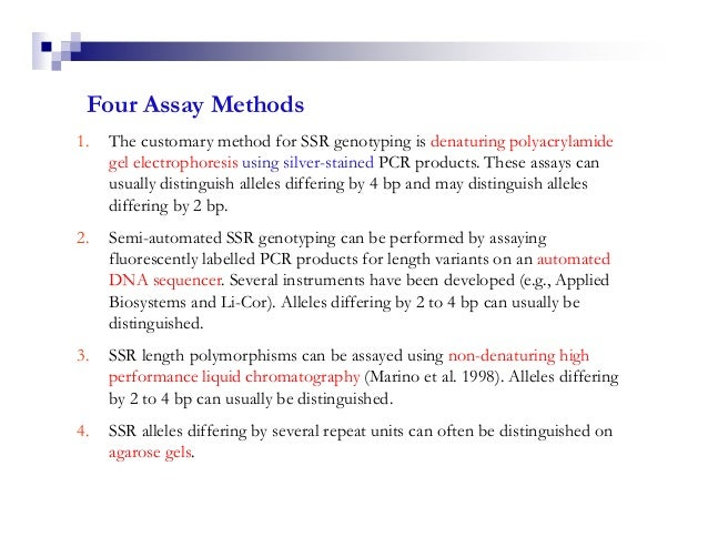 Four Assay Methods1.   The customary method for SSR genotyping is denaturing polyacrylamide     gel electrophoresis using ...