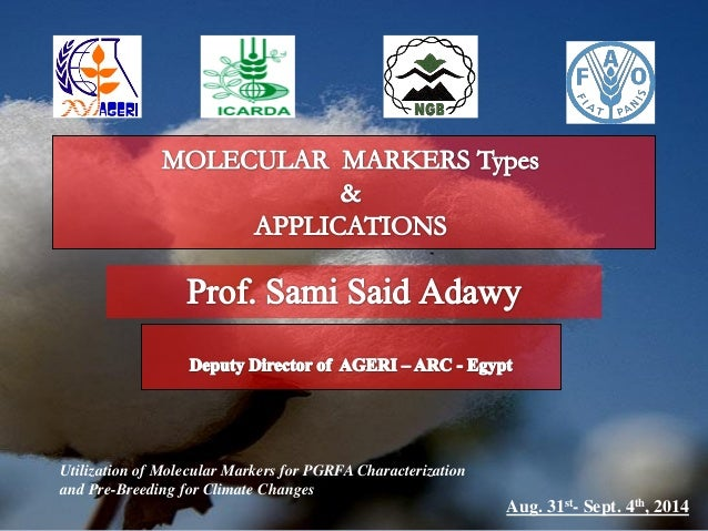 Utilization of Molecular Markers for PGRFA Characterization and Pre-Breeding for Climate Changes Aug. 31st- Sept. 4th, 2014