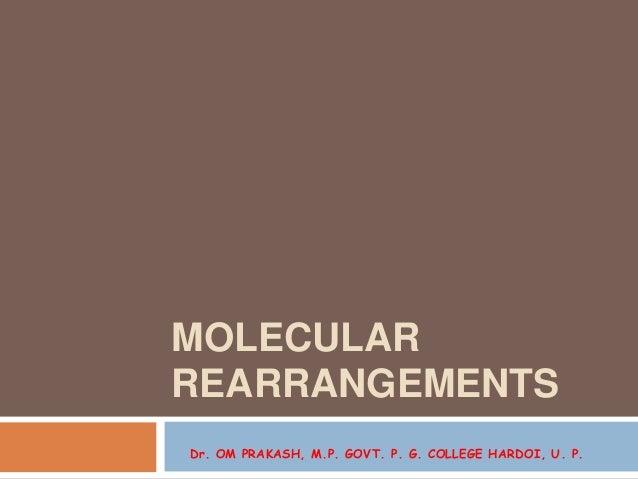 MOLECULAR REARRANGEMENTS Dr. OM PRAKASH, M.P. GOVT. P. G. COLLEGE HARDOI, U. P.