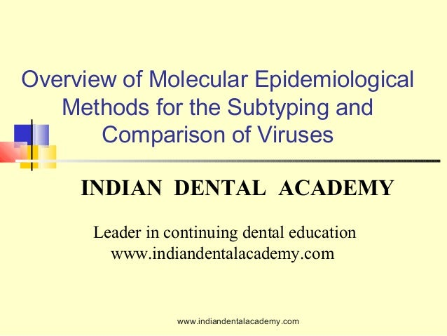 Overview of Molecular Epidemiological Methods for the Subtyping and Comparison of Viruses INDIAN DENTAL ACADEMY Leader in ...