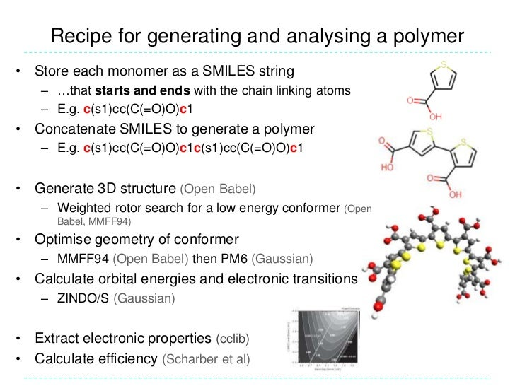 Recipe for generating and analysing a polymer<br />Store each monomer as a SMILES string<br />…that starts and ends with t...