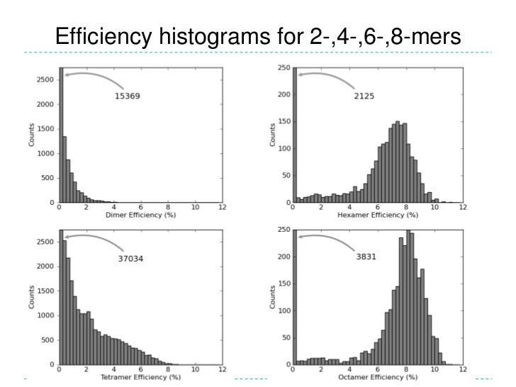 Solution: use a genetic algorithm to search for hexamers and octamers with optimal properties