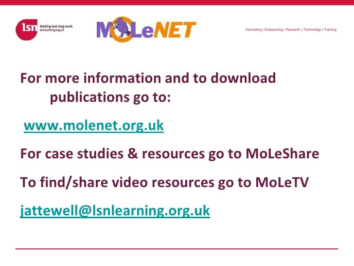 For more information and to download publications go to:<br />www.molenet.org.uk<br />For case studies & resources go to M...