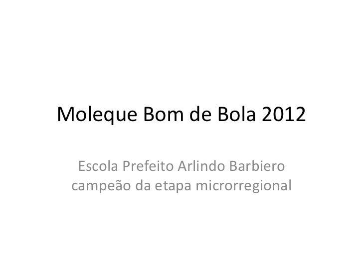Moleque Bom de Bola 2012  Escola Prefeito Arlindo Barbiero campeão da etapa microrregional