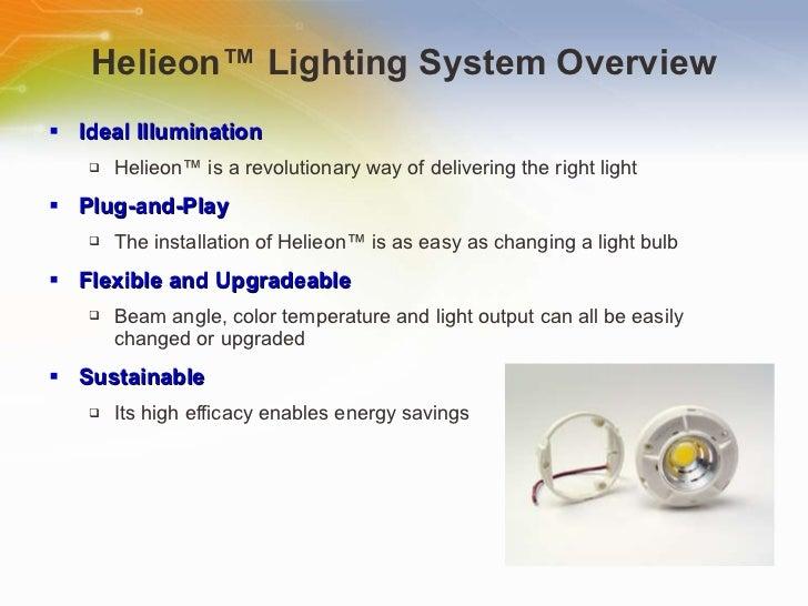 Helieon ™  Lighting System Overview <ul><li>Ideal Illumination </li></ul><ul><ul><li>Helieon ™  is a revolutionary way of ...