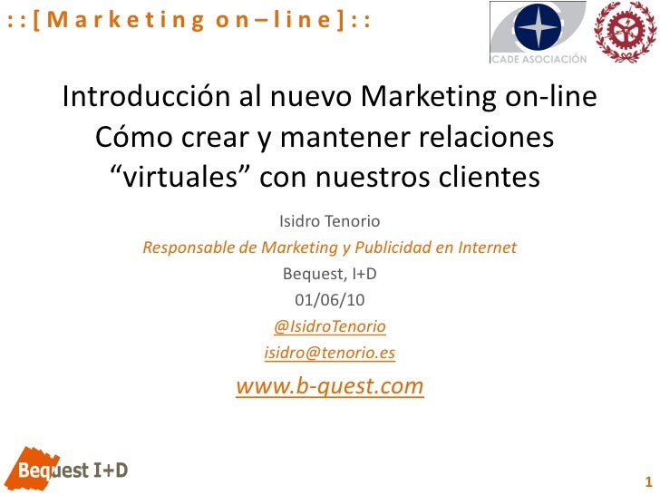 """::[Marketing on–line]::      Introducción al nuevo Marketing on-line       Cómo crear y mantener relaciones        """"virtua..."""