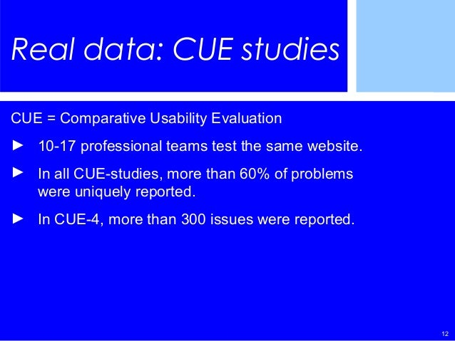 12 Real data: CUE studies CUE = Comparative Usability Evaluation ► 10-17 professional teams test the same website. ► In al...