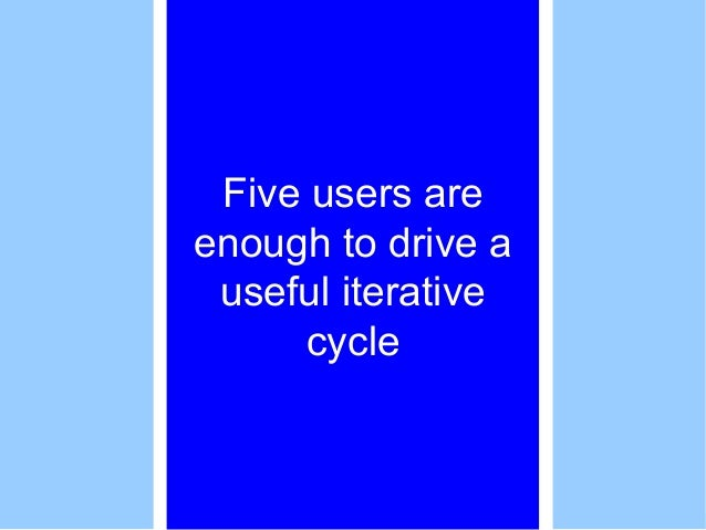 Five users are enough to drive a useful iterative cycle