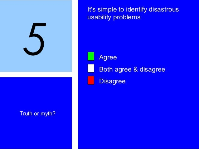 5 Truth or myth? It's simple to identify disastrous usability problems Agree Both agree & disagree Disagree