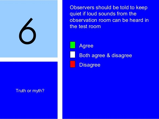 6 Truth or myth? Observers should be told to keep quiet if loud sounds from the observation room can be heard in the test ...