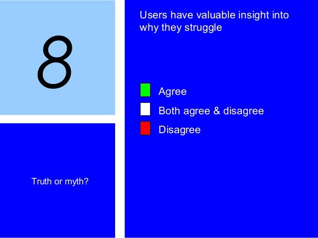 8 Truth or myth? Users have valuable insight into why they struggle Agree Both agree & disagree Disagree