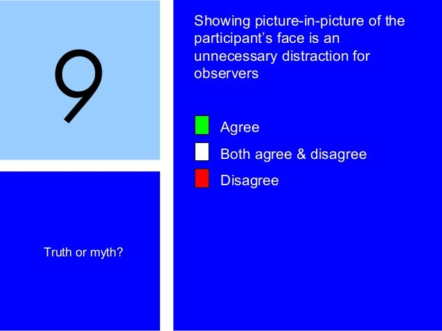 9 Truth or myth? Showing picture-in-picture of the participant's face is an unnecessary distraction for observers Agree Bo...