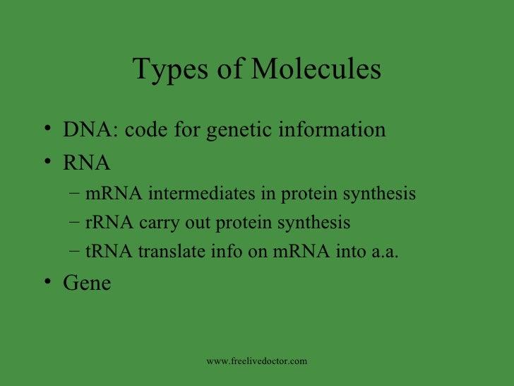 Types of Molecules <ul><li>DNA: code for genetic information </li></ul><ul><li>RNA </li></ul><ul><ul><li>mRNA intermediate...