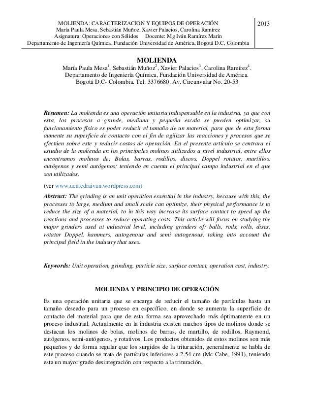 MOLIENDA: CARACTERIZACION Y EQUIPOS DE OPERACIÓN María Paula Mesa, Sebastián Muñoz, Xavier Palacios, Carolina Ramírez Asig...