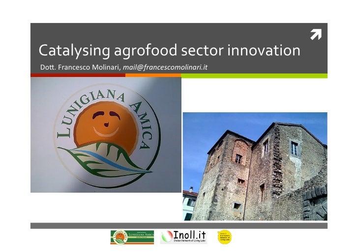  Catalysing agrofood sector innovation Do$. Francesco Molinari, mail@francescomolinari.it
