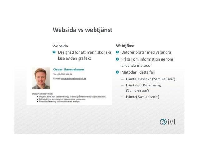 Websida vs webtjänst Websida Webtjänst Datorer pratar med varandra Frågar om information genom använda metoder Metoder i d...
