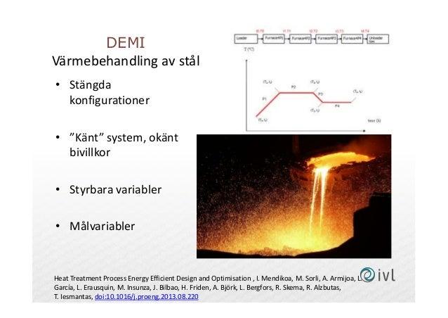 """DEMI Värmebehandling av stål • Stängda konfigurationer • """"Känt"""" system, okänt bivillkor • Styrbara variabler • Målvariable..."""