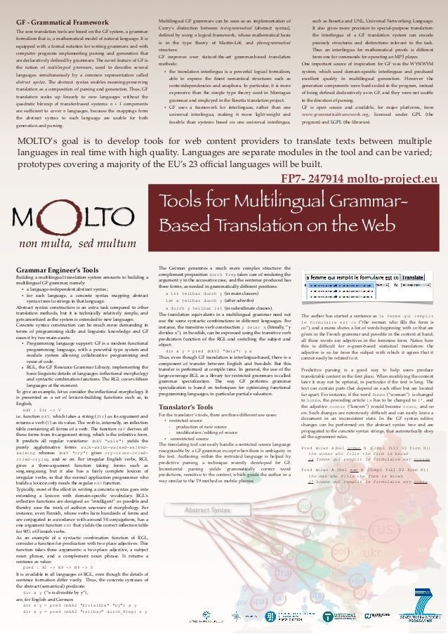 MOLTO's goal is to develop tools for web content providers to translate texts between multiplelanguages in real time with ...