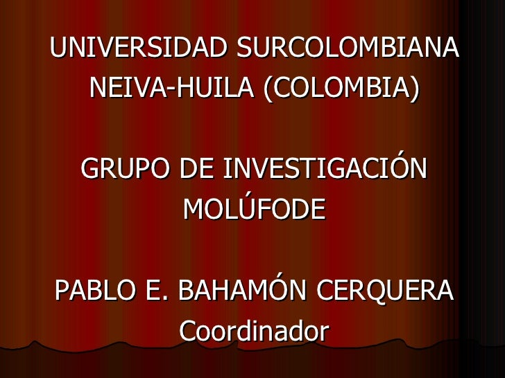 UNIVERSIDAD SURCOLOMBIANA   NEIVA-HUILA (COLOMBIA)   GRUPO DE INVESTIGACIÓN        MOLÚFODE  PABLO E. BAHAMÓN CERQUERA    ...