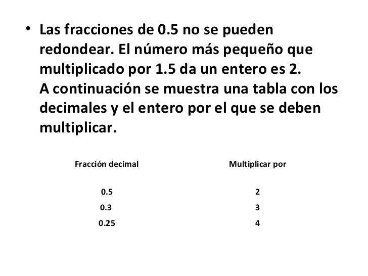 • Las fracciones de 0.5 no se pueden  redondear. El número más pequeño que  multiplicado por 1.5 da un entero es 2.  A con...