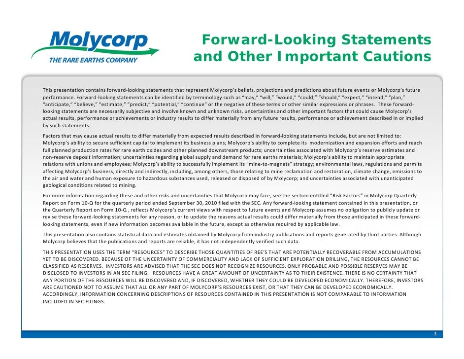 Forward-Looking Statements                                                                and Other Important CautionsThis...
