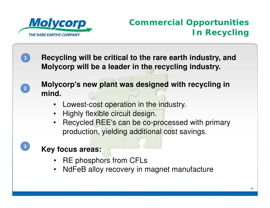 Commercial Opportunities                                          In Recycling1   Recycling will be critical to the rare e...