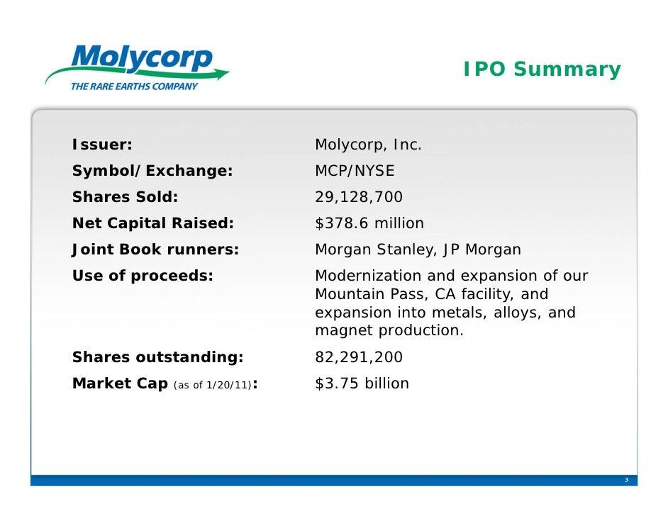 IPO SummaryIssuer:                         Molycorp, Inc.Symbol/Exchange:                MCP/NYSEShares Sold:             ...