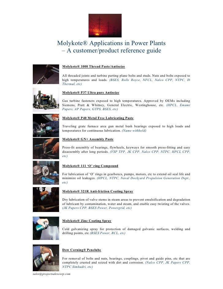 Molykote® Applications in Power Plants                  – A customer/product reference guide                      Molykote...