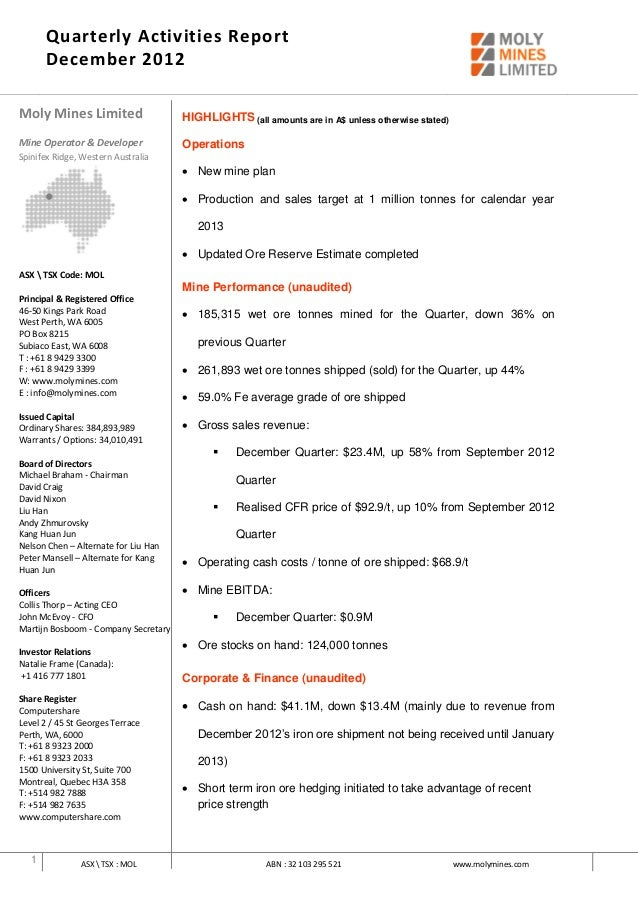 Quarterly Activities Report       December 2012Moly Mines Limited                    HIGHLIGHTS (all amounts are in A$ unl...
