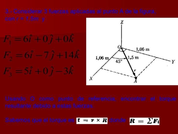 3.-   Considerar 3 fuerzas aplicadas al punto A de la figura,  con  r = 1,5m   y  Usando O como punto de referencia, encon...