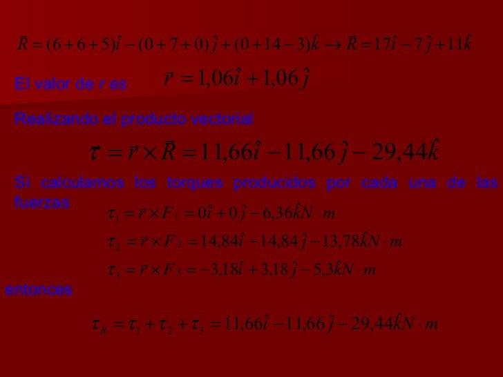 El valor de  r es Realizando el producto vectorial Si calculamos los torques producidos por cada una de las fuerzas entonces