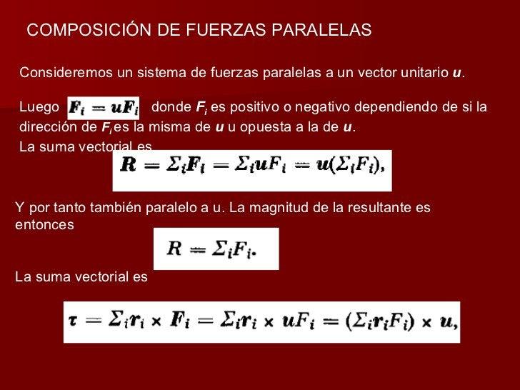 COMPOSICIÓN DE FUERZAS PARALELAS Consideremos un sistema de fuerzas paralelas a un vector unitario  u . Luego  donde  F i ...