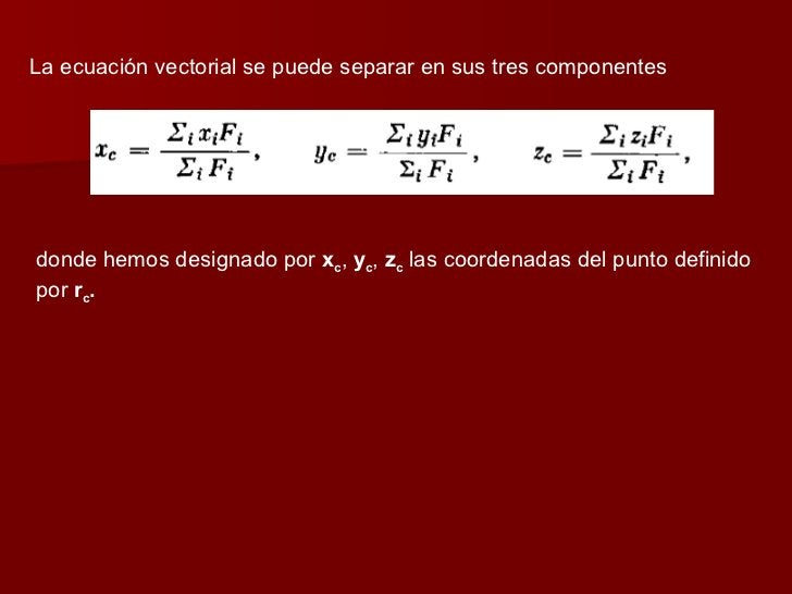La ecuación vectorial se puede separar en sus tres componentes donde hemos designado por  x c ,  y c ,  z c  las coordenad...