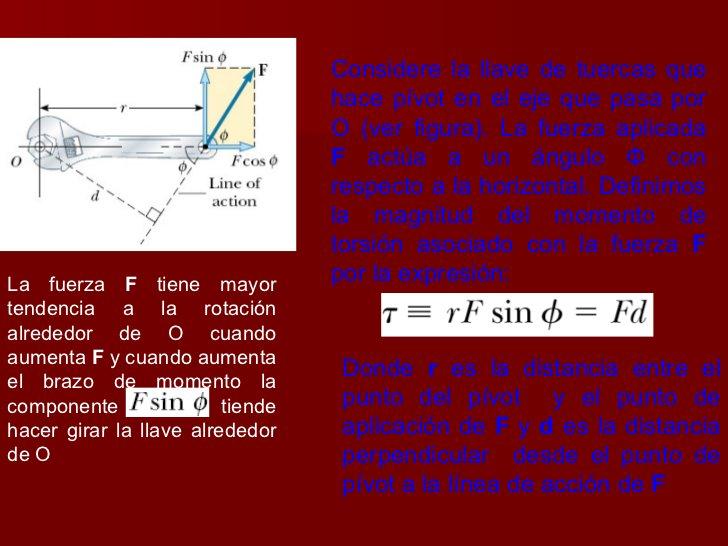La fuerza  F  tiene mayor tendencia a la rotación alrededor de O cuando aumenta  F  y cuando aumenta el brazo de momento l...