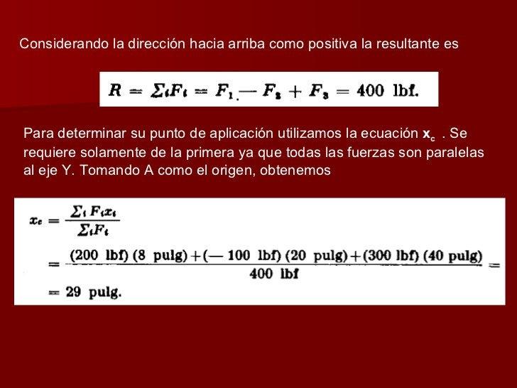 Considerando la dirección hacia arriba como positiva la resultante es  Para determinar su punto de aplicación utilizamos l...