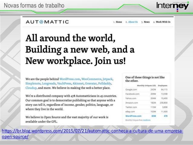Novas formas de trabalho https://br.blog.wordpress.com/2015/07/21/automattic-conheca-a-cultura-de-uma-empresa- open-source/