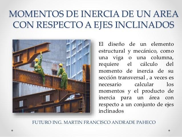 MOMENTOS DE INERCIA DE UN AREA CON RESPECTO A EJES INCLINADOS El diseño de un elemento estructural y mecánico, como una vi...