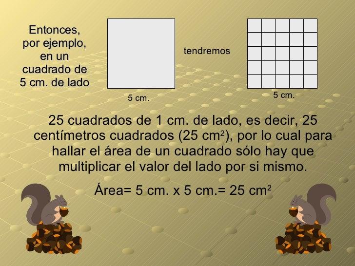 Entonces, por ejemplo, en un cuadrado de 5 cm. de lado tendremos 5 cm. 5 cm. 25 cuadrados de 1 cm. de lado, es decir, 25 c...