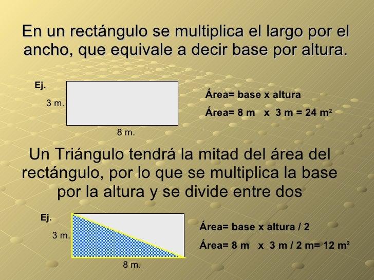 En un rectángulo se multiplica el largo por el ancho, que equivale a decir base por altura. Ej. 3 m. 8 m. Área= base x alt...