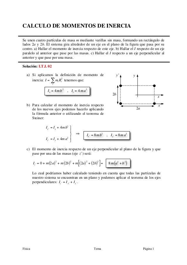 Física Tema Página 1 CALCULO DE MOMENTOS DE INERCIA Se unen cuatro partículas de masa m mediante varillas sin masa, forman...
